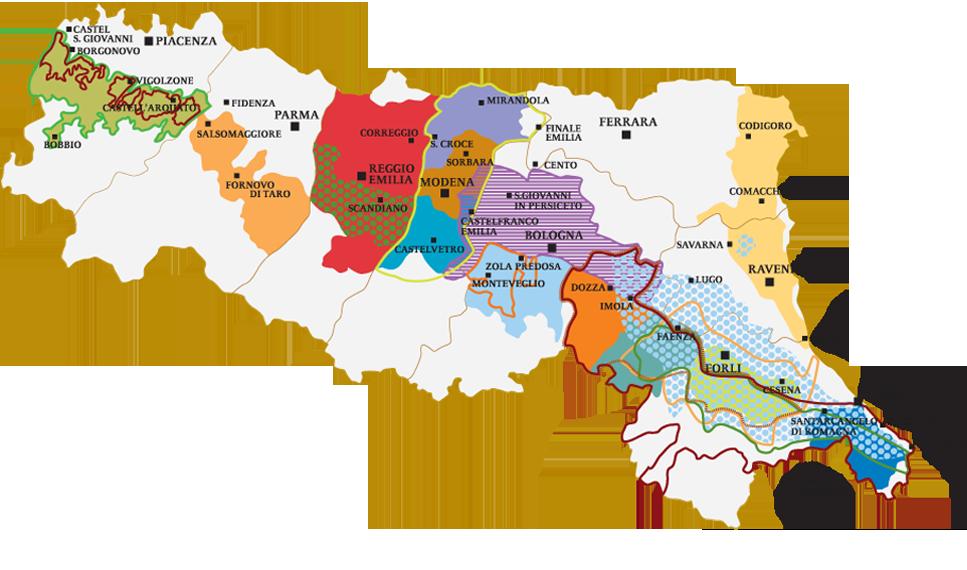 Cartina Geografica Regione Emilia Romagna.Vini Dop Enoteca Emilia Romagna